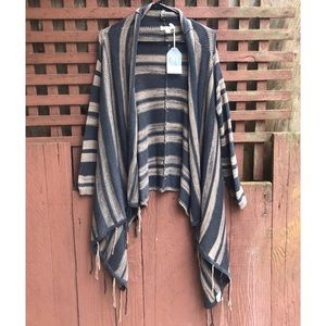NWT Hem & Thread Grey Striped Fringe Knit Cardigan